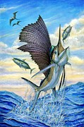 Dolphin Art Paintings - Hunting Of Small Tunas by Terry Fox