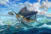 Black Marlin Painting Prints - Hunting Sail Print by Terry Fox