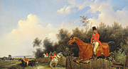 Horse Jumping Paintings - Hunting Scene by Bernard Edouard Swebach
