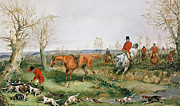 Hound Paintings - Hunting Scene by Henry Thomas Alken