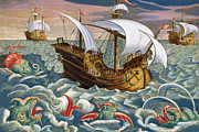 Galleon Prints - Hunting Sea Creatures Print by Jan Collaert