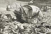 Hunting Sea Creatures Print by Jan Van Der Straet