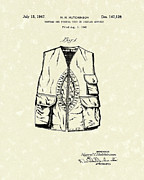 Hunting Drawings Prints - Hunting Vest 1947 Patent Art Print by Prior Art Design