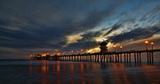 Sunset Framed Prints Posters - Huntington Beach at Night Poster by Peter Dang