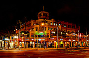 Surf City Art - Huntington Beach Downtown Nightside 1 by Jim Carrell