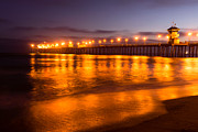 Surf City Posters - Huntington Beach Pier at Night Poster by Paul Velgos
