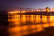 Huntington Beach Pier At Night Print by Paul Velgos