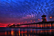 Landscapes Pyrography Framed Prints - Huntington Beach Pier at Night Framed Print by Peter Dang