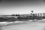 Summer Travel Framed Prints - Huntington Beach Pier Black and White Picture Framed Print by Paul Velgos