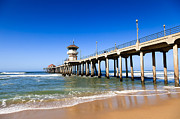 Summer Travel Framed Prints - Huntington Beach Pier in Southern California Framed Print by Paul Velgos