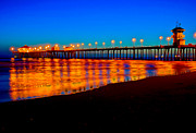 Huntington Prints - Huntington Beach Pier - Nightside Print by Jim Carrell