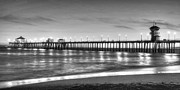 Surf City Posters - Huntington Beach Pier Twilight - Black and White Poster by Jim Carrell
