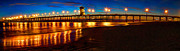 Water Reflections Framed Prints - Huntington Beach Pier Twilight Panoramic Framed Print by Jim Carrell