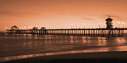 City Pier Posters - Huntington Beach Pier - Twilight Sepia Poster by Jim Carrell