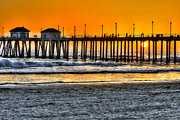 California Surf Prints - Huntington Beach Sunset Print by Jim Carrell