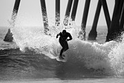 Surf Lifestyle Metal Prints - Huntington beach Surfer Metal Print by Pierre Leclerc
