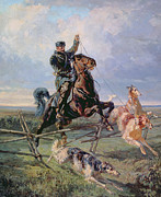 Horse Jumping Paintings - Huntsman with the Borzois by Rudolph Frenz