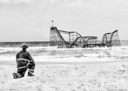 Jetstar Roller Coaster Photographs Framed Prints - Hurricane Sandy Fireman Black and White Framed Print by Jessica Cirz