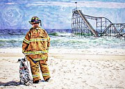Jetstar Metal Prints - Hurricane Sandy Fireman Metal Print by Jessica Cirz