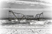 Jetstar Roller Coaster Photographs Framed Prints - Hurricane Sandy Jetstar Roller Coaster Black and White Framed Print by Jessica Cirz