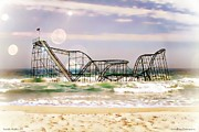 Jetstar Roller Coaster Photographs Framed Prints - Hurricane Sandy Jetstar Roller Coaster Sun Glare Framed Print by Jessica Cirz