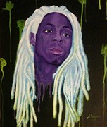 Lil Wayne Painting Metal Prints - Hurt but Never Cry Metal Print by Miriam Cross