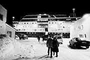 Short Boarding Prints - Hurtigruten Mv Midnatsol Ship Calling At Night In Vardo Finnmark Norway Europe Print by Joe Fox