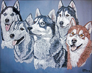 Huskies Photo Posters - Huskies by J. Belter Garfunkel Poster by Sheldon Kralstein