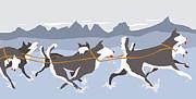Huskies Print by Dry Climate Studios