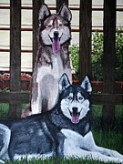 Huskies Painting Posters - Huskies Poster by Holly York