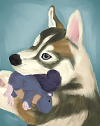 Husky Posters - Husky with Toy Poster by Kirsten Thomas