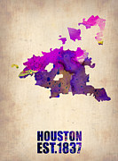 Maps Prints - Huston Watercolor Map Print by Irina  March