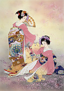 Purple Robe Framed Prints - Hutari Mai Framed Print by Haruyo Morita