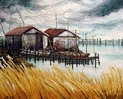 Huts By The Shore Print by Joey Agbayani