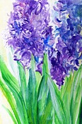 Acrylics Painting Prints - Hyacinths at Debbies Print by Rosanne Licciardi