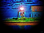 Nightlight Framed Prints - Hyannis Port Lighthouse 2 Framed Print by Annie Zeno