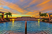 Hyatt Hotel Digital Art Prints - Hyatt Morning Pool Print by Bill Tiepelman