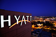 Hyatt Regency Hotel Prints - Hyatt sign Print by Jo Ann Snover