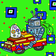 Toy Truck Framed Prints - Hybrid Robot Car Framed Print by Lynnda Rakos