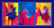 Twirling Mixed Media Prints - Hychilu Abstracts Triptych Print by Steve Ohlsen