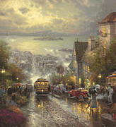 Fog Painting Framed Prints - Hyde Street San Francisco Framed Print by Thomas Kinkade