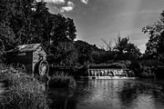 Historic Mill Framed Prints - Hydes Mill Monochrome Framed Print by Randy Scherkenbach