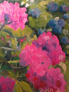 Red Geraniums Prints - Hydrangea beyond Geraniums Print by Susan Jones