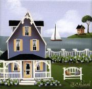 Primitive Folk Art Prints - Hydrangea Cove Print by Catherine Holman