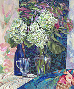 Water Jug Originals - Hydrangea in a vase by Olga Panina