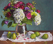 Pear Pastels Prints - Hydrangeas and Pears Print by Sarah Blumenschein