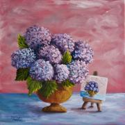 Double Image Paintings - Hydrangeas From my Garden by Darice Machel McGuire