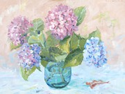 Fallen Leaf Painting Posters - Hydrangeas in a Green Vase Poster by Elinor Fletcher