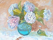 Fallen Leaf Painting Posters - Hydrangeas in a Vase Poster by Elinor Fletcher