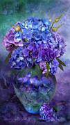 Hydrangeas In Hydrangea Vase Print by Carol Cavalaris